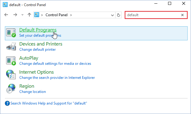 Default program Windows 10