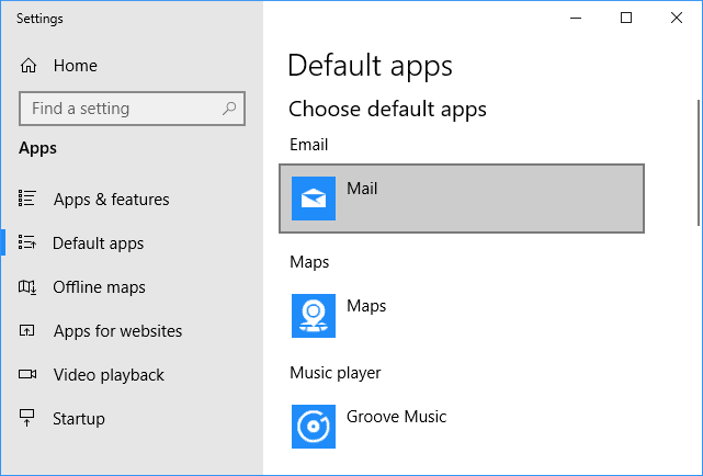 Default apps Email - Mail - Windows 10