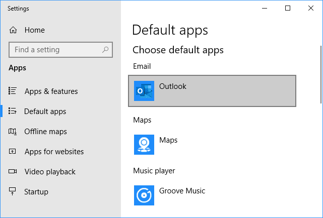 Default apps Email - Outlook - Windows 10
