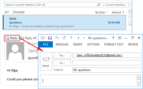 Replies and Forwards in a new window Outlook 2013