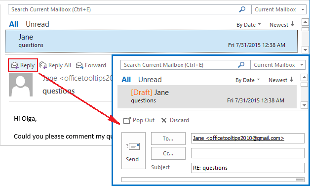 Replies and Forwards in the same window Outlook 2016