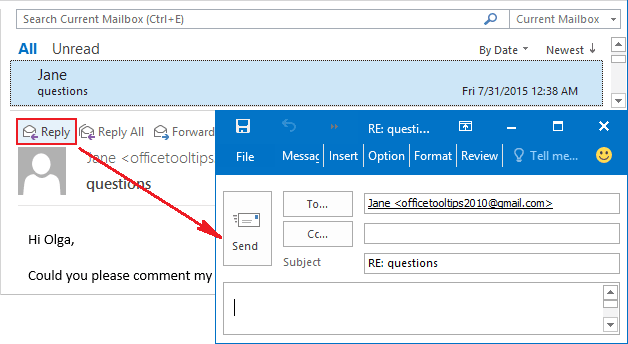 Replies and Forwards in a new window Outlook 2016