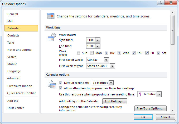 Calendar options Outlook 2010