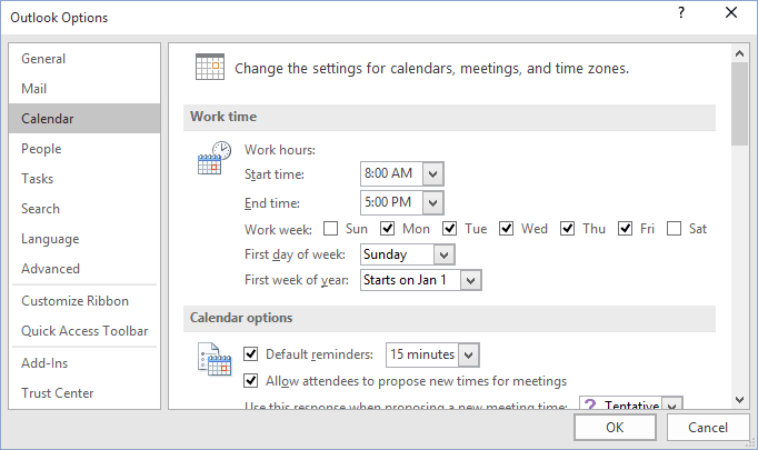 Calendar options Outlook 2016