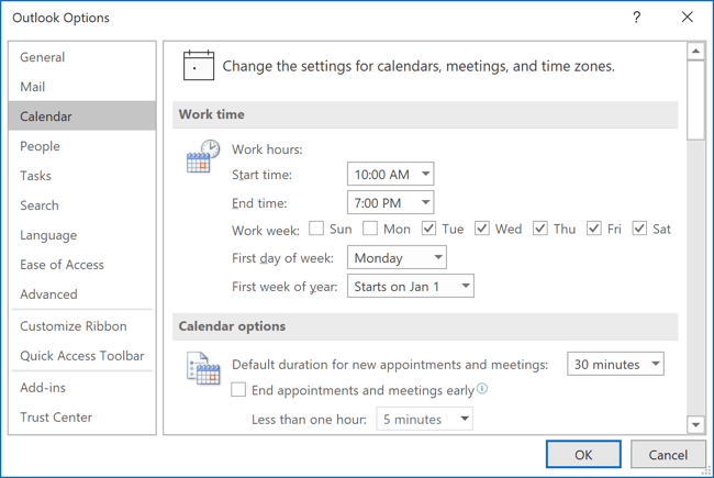 Calendar options Outlook 365