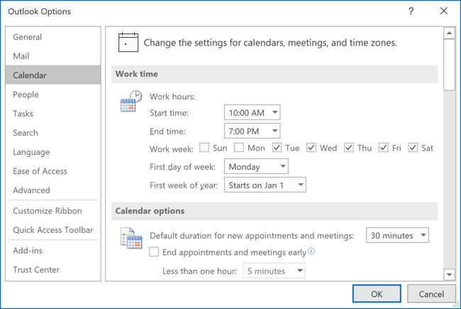 Calendar options Outlook 365