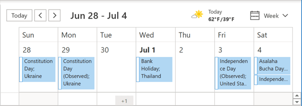 Calendar with holidays Outlook 365