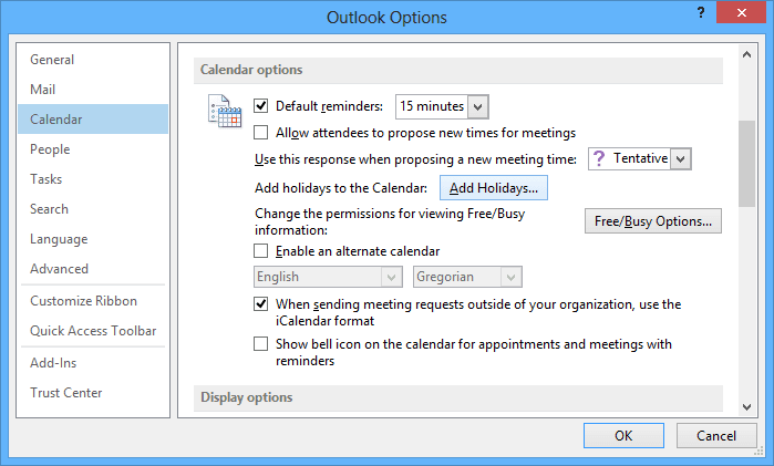 Calendar options Outlook 2013