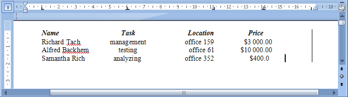 example text aligment using tabs Word 2007
