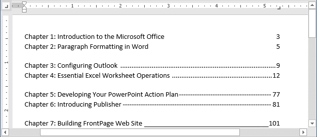 Setting tabs using the Tabs dialog box example in Word 2016