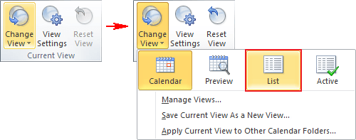 Current View group in Outlook 2010