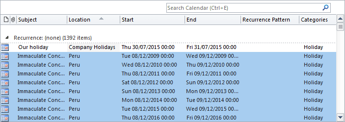 List holidays in Outlook 2010