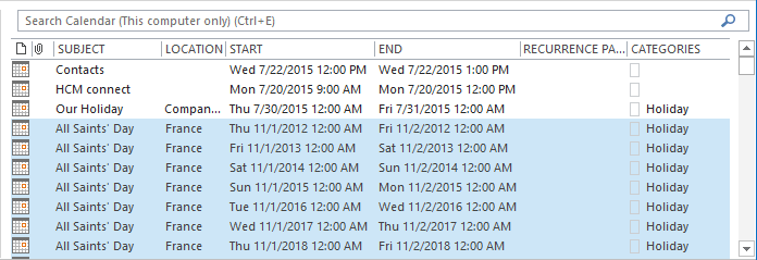List holidays in Outlook 2016