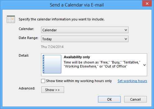 Date range in send a calendar in Outlook 2013
