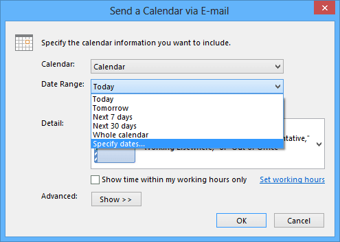 Specify dates in send a calendar in Outlook 2013