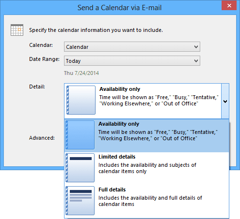 Detail in send a calendar in Outlook 2013