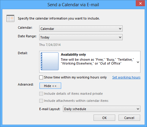 Advanced in send a calendar in Outlook 2013