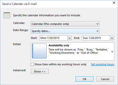 Specify dates in send a calendar in Outlook 2016
