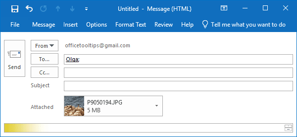 Example of an attached picture in Outlook 2016