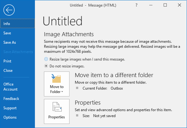 Message of the large picture in Outlook 2016
