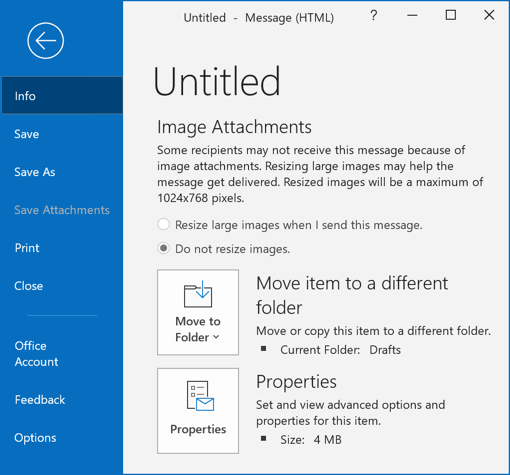 Message of the large picture in Outlook 365