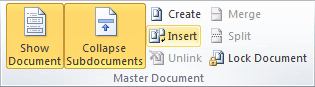 Master Document in Word 2010