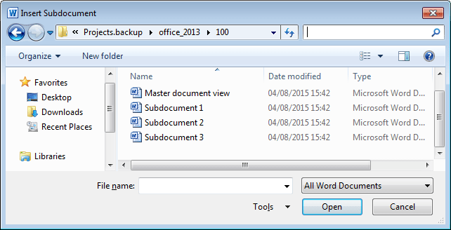 Insert Subdocument in Word 2010