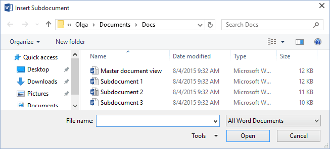 Insert Subdocument in Word 2016