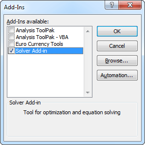 Solver Add-In in Excel 2010