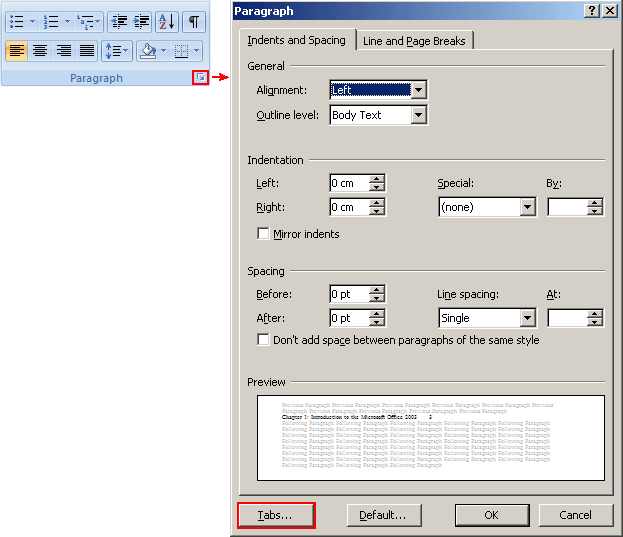 Paragraph Launcher in Word 2007