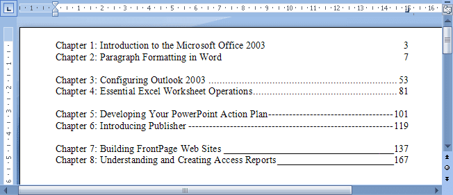 Setting tabs using the Tabs dialog box example in Word 2007