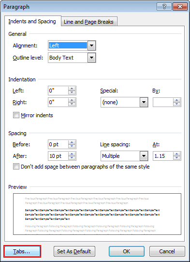 Tabs in Word 2010