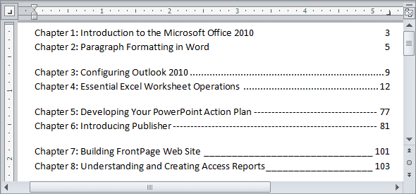 Setting tabs using the Tabs dialog box example in Word 2010