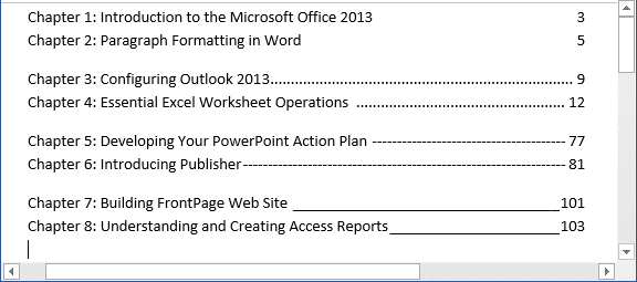 Setting tabs using the Tabs dialog box example in Word 2013