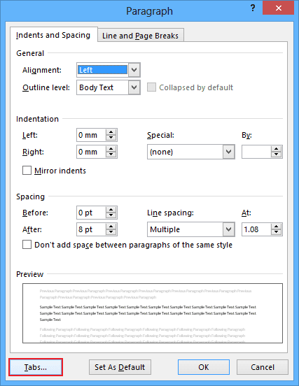 Tabs in Word 2013