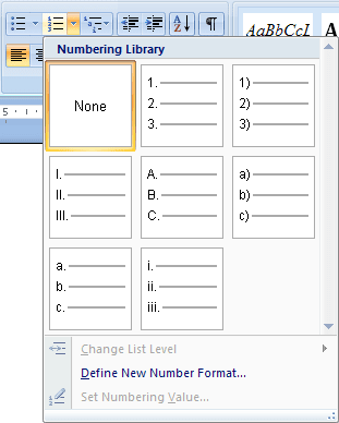 Numbering in Word 2007