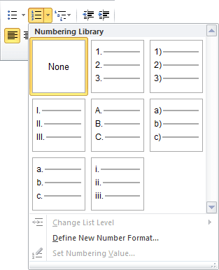 Numbering in Word 2010