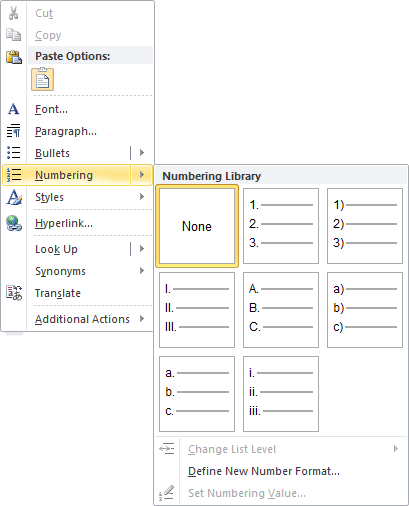 numbering in Word 2010 popup