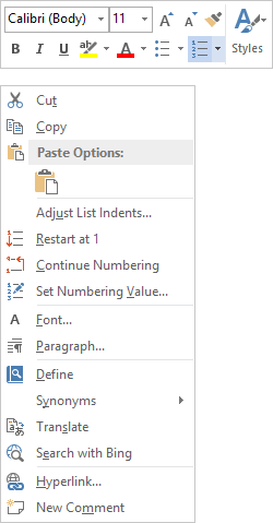numbering in Word 2013 popup