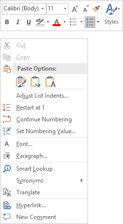numbering in Word 2016 popup