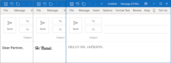 Examples of fonts in Outlook 365