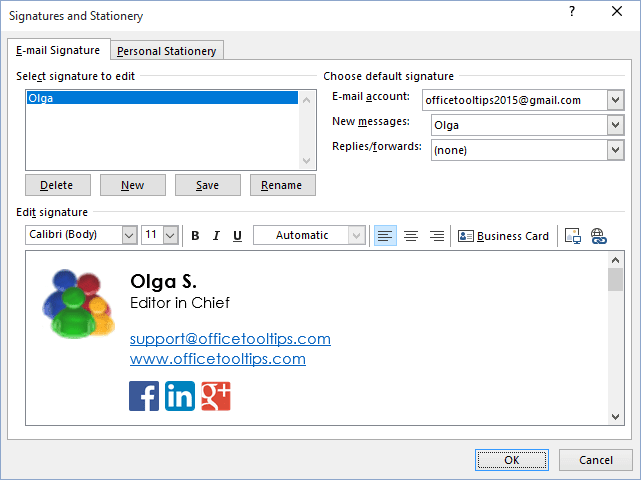 Hyperlinks in E-mail signature Outlook 2016