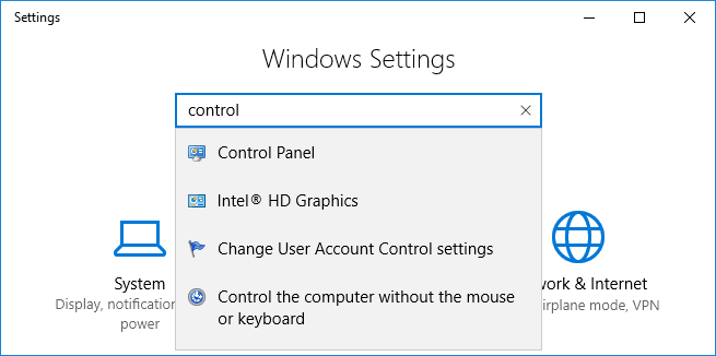 Windows 10 settings dialog box