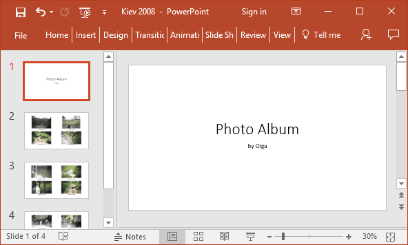 Fast Way To Create Photo Album In Powerpoint Microsoft Powerpoint 2016