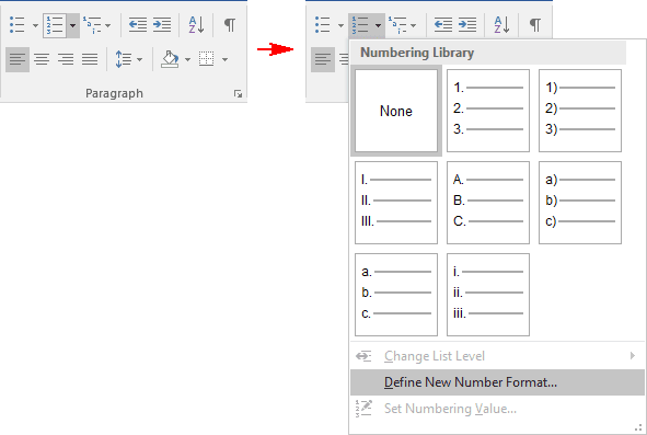 Paragraph in Word 2016