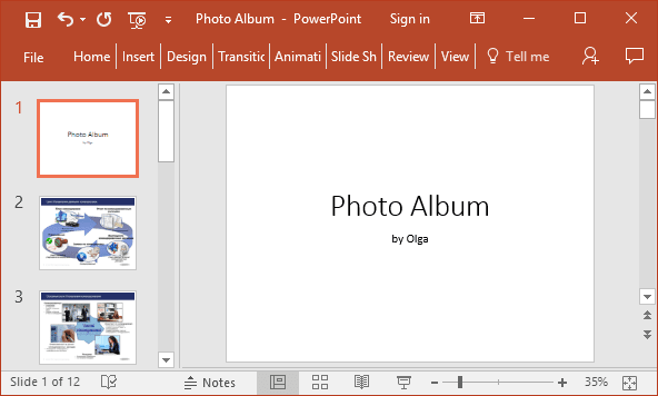 Photo album in PowerPoint 2016