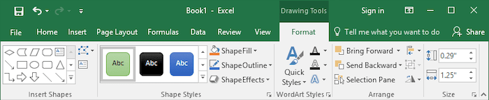 Drawing Tools toolbar in Excel 2016