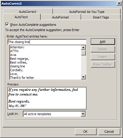 autocorrect in Word 2003
