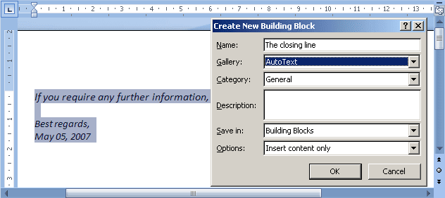 Quick Part in Word 2007