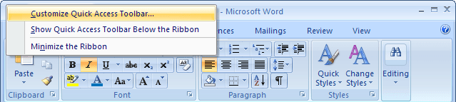 Customize Quick Access Toolbar Word 2007